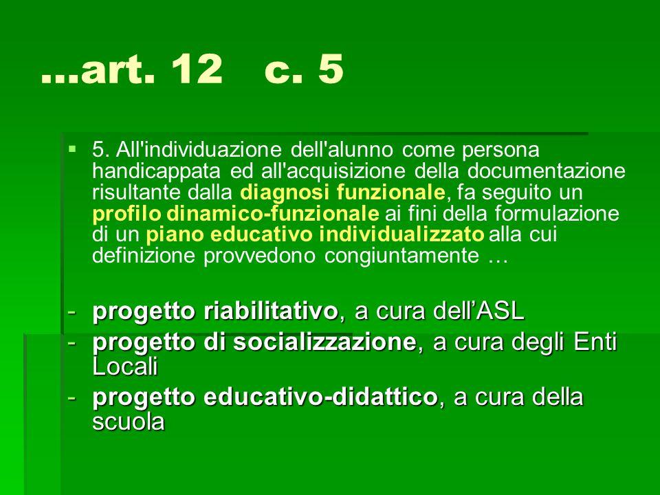 …art. 12 c. 5 progetto riabilitativo, a cura dell'ASL