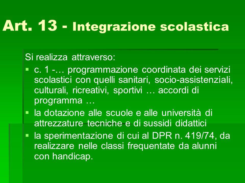 Art. 13 - Integrazione scolastica