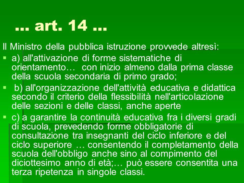 … art. 14 … Il Ministro della pubblica istruzione provvede altresì: