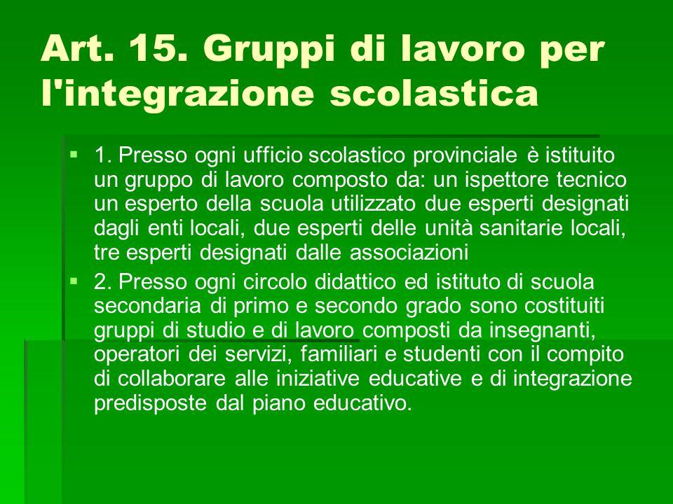 Art. 15. Gruppi di lavoro per l integrazione scolastica