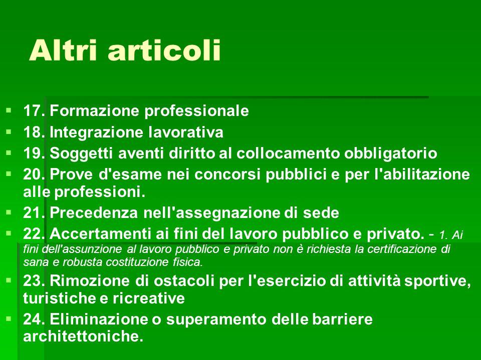 Altri articoli 17. Formazione professionale