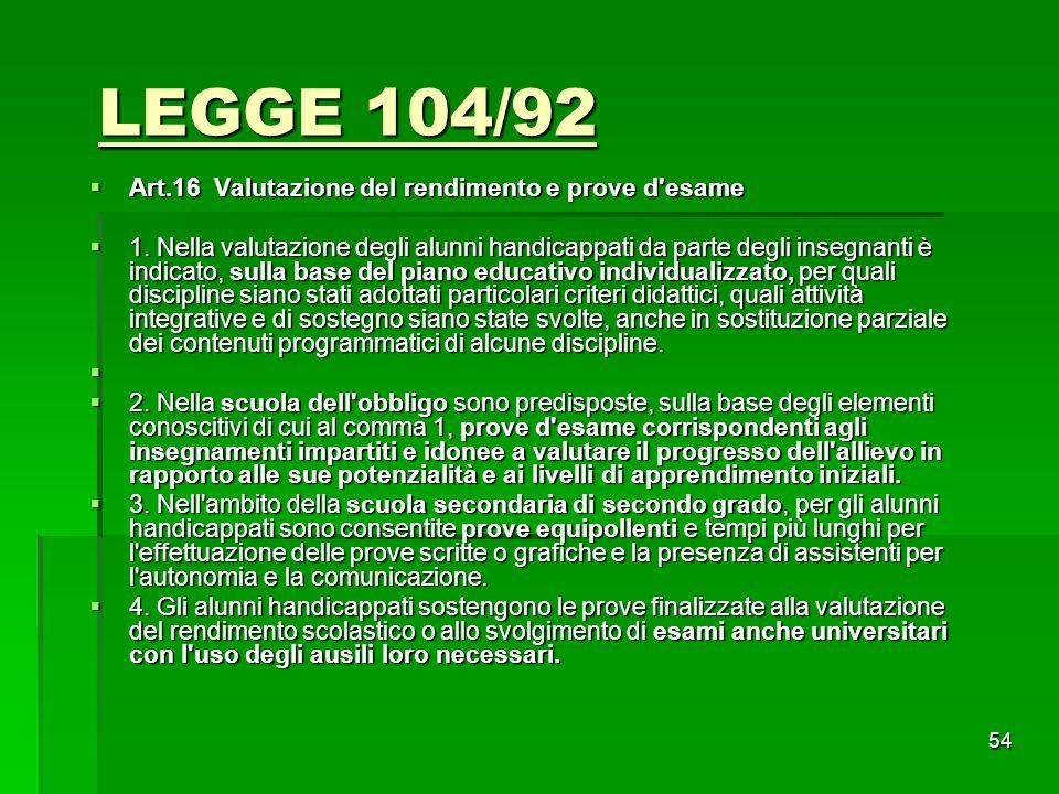 LEGGE 104/92 Art.16 Valutazione del rendimento e prove d esame