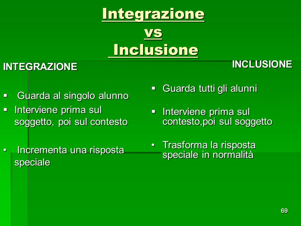 Integrazione vs Inclusione