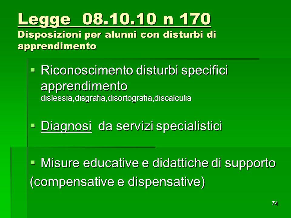 Legge 08.10.10 n 170 Disposizioni per alunni con disturbi di apprendimento