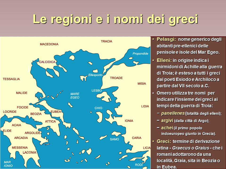 Le regioni e i nomi dei greci