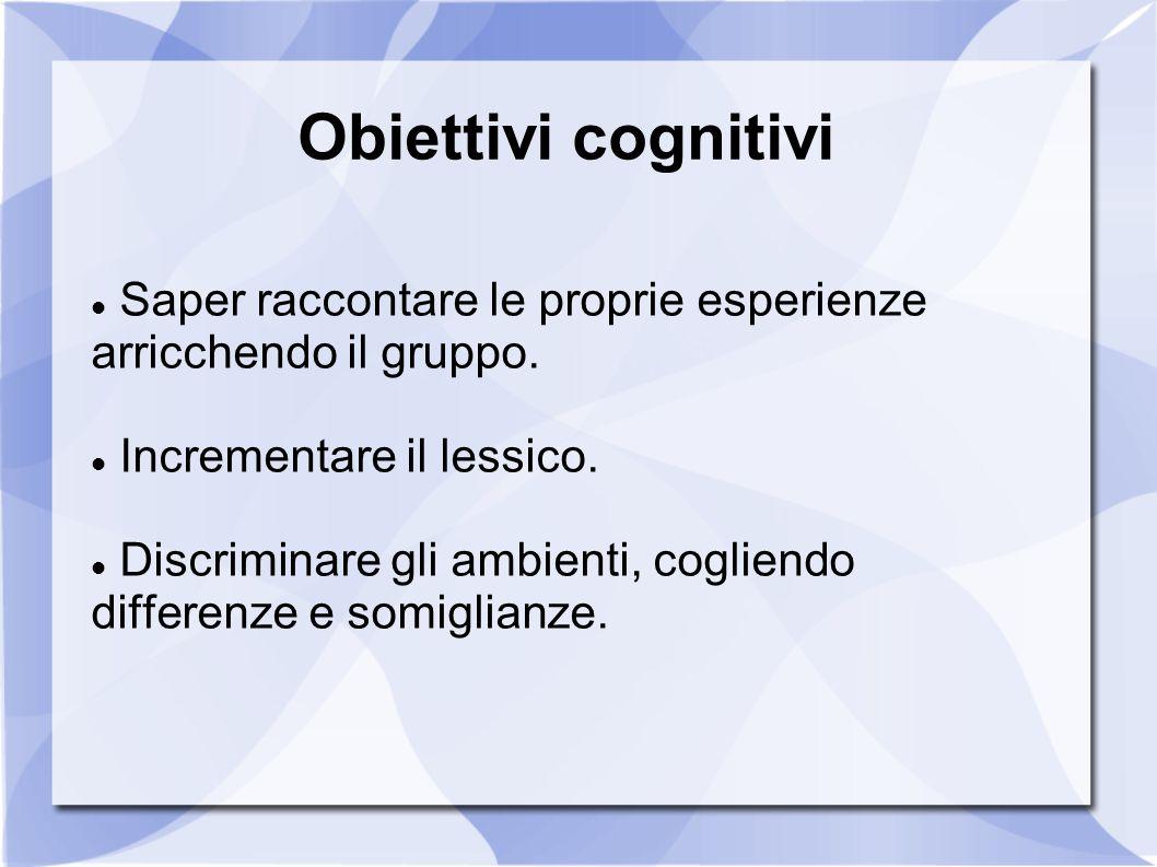 Obiettivi cognitivi Saper raccontare le proprie esperienze arricchendo il gruppo. Incrementare il lessico.