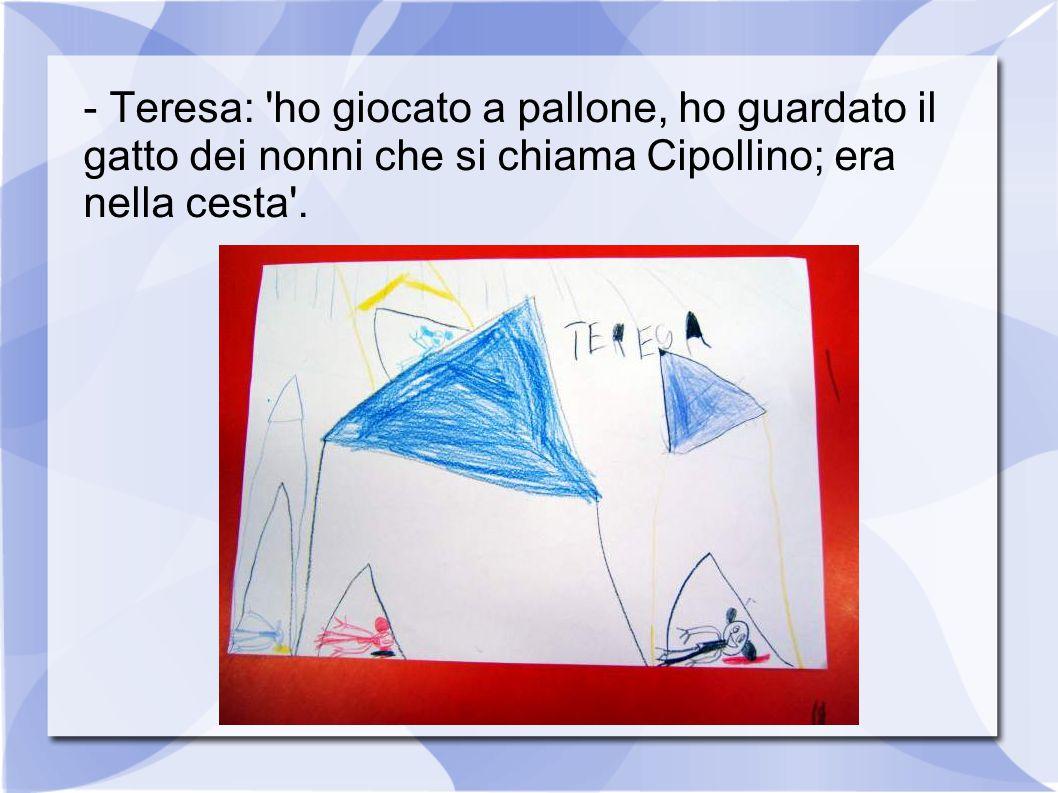 - Teresa: ho giocato a pallone, ho guardato il gatto dei nonni che si chiama Cipollino; era nella cesta .