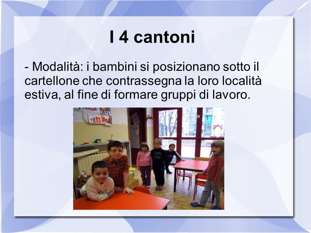 I 4 cantoni - Modalità: i bambini si posizionano sotto il cartellone che contrassegna la loro località estiva, al fine di formare gruppi di lavoro.