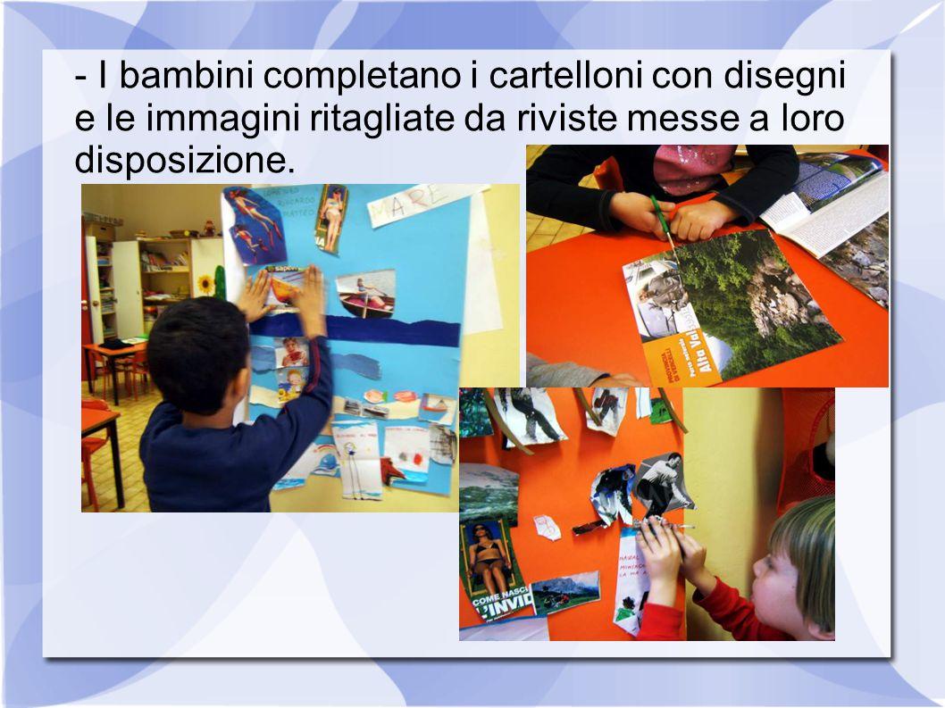 - I bambini completano i cartelloni con disegni e le immagini ritagliate da riviste messe a loro disposizione.