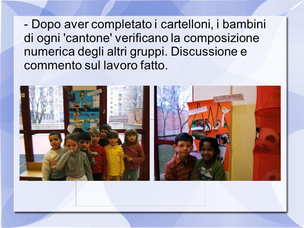 - Dopo aver completato i cartelloni, i bambini di ogni cantone verificano la composizione numerica degli altri gruppi.