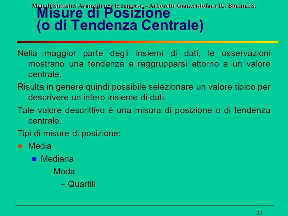 Misure di Posizione (o di Tendenza Centrale)