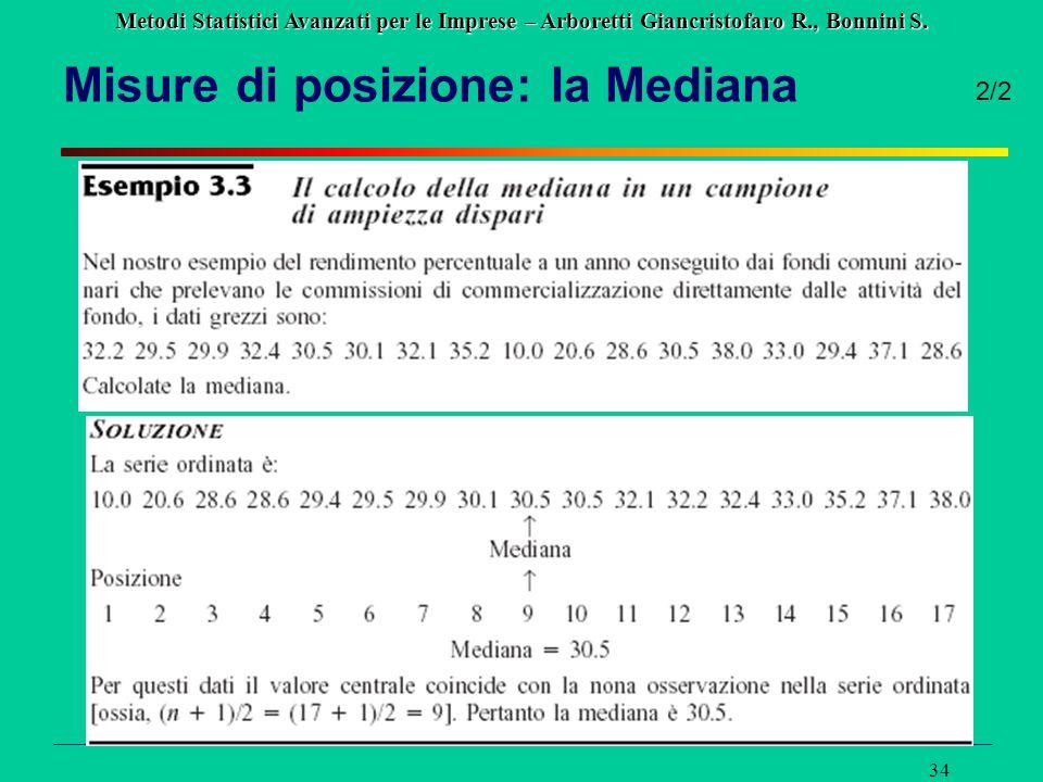Misure di posizione: la Mediana