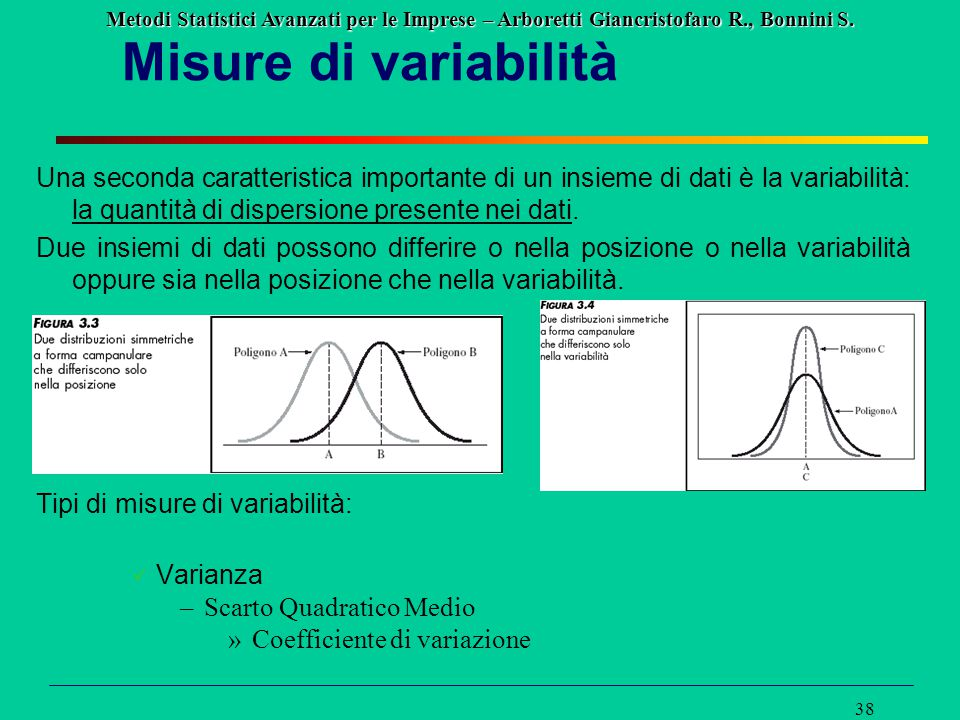Misure di variabilità Una seconda caratteristica importante di un insieme di dati è la variabilità: la quantità di dispersione presente nei dati.