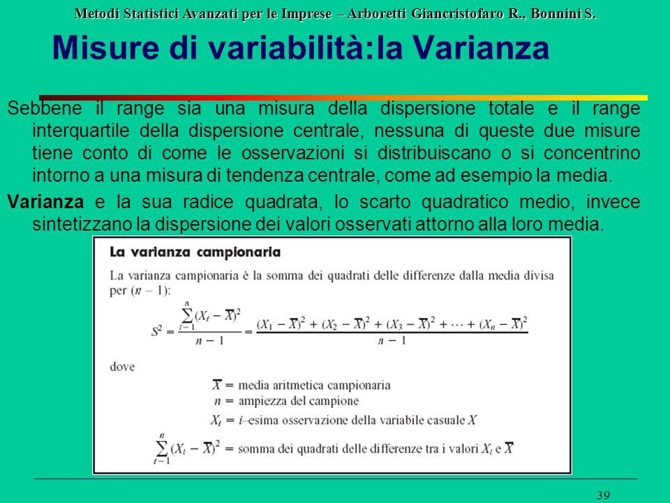 Misure di variabilità:la Varianza