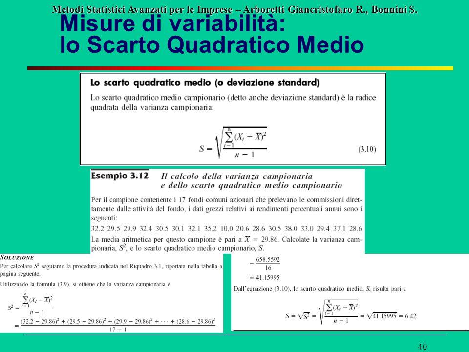 Misure di variabilità: lo Scarto Quadratico Medio