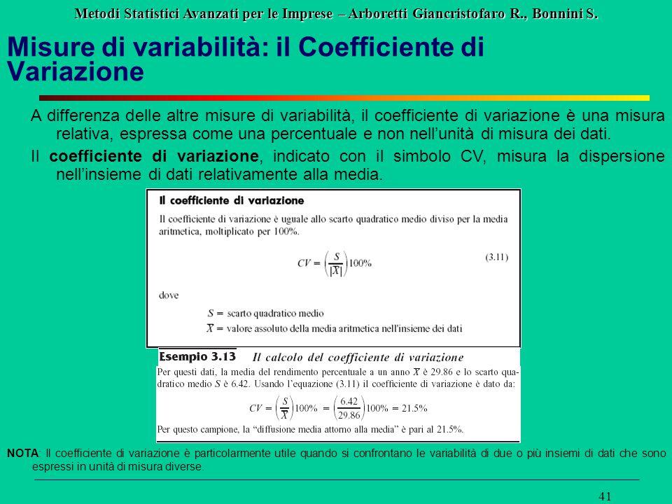 Misure di variabilità: il Coefficiente di Variazione
