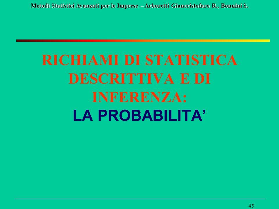 RICHIAMI DI STATISTICA DESCRITTIVA E DI INFERENZA: LA PROBABILITA'