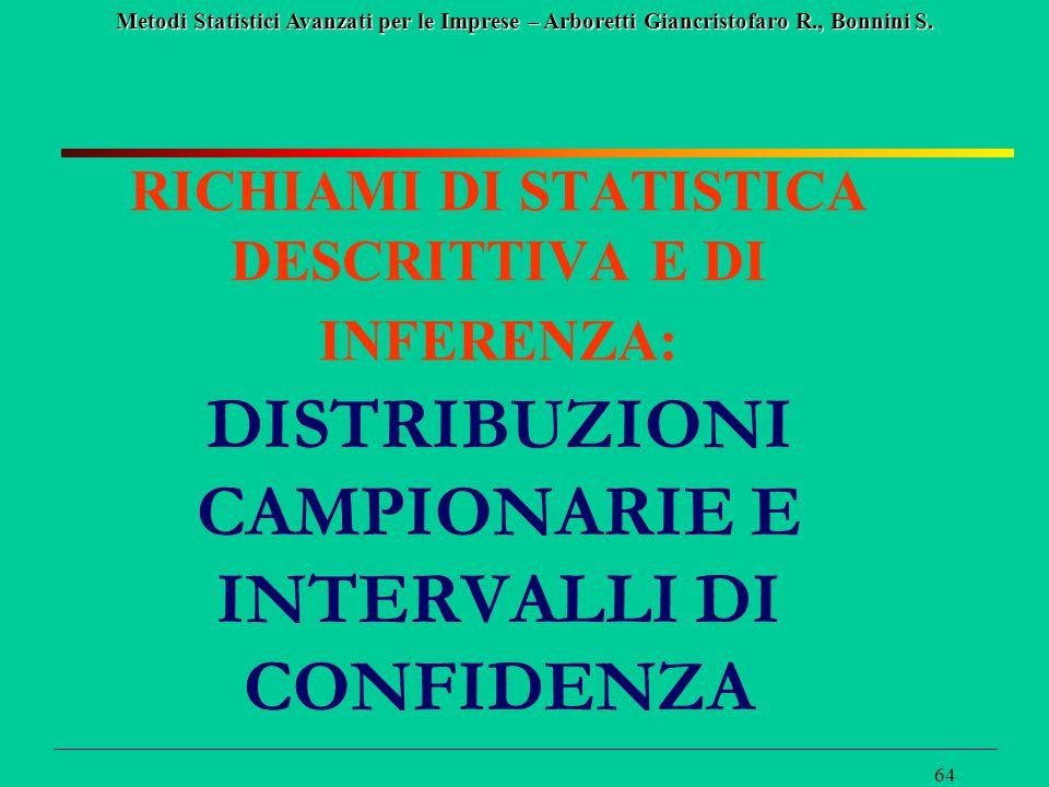RICHIAMI DI STATISTICA DESCRITTIVA E DI INFERENZA: DISTRIBUZIONI CAMPIONARIE E INTERVALLI DI CONFIDENZA