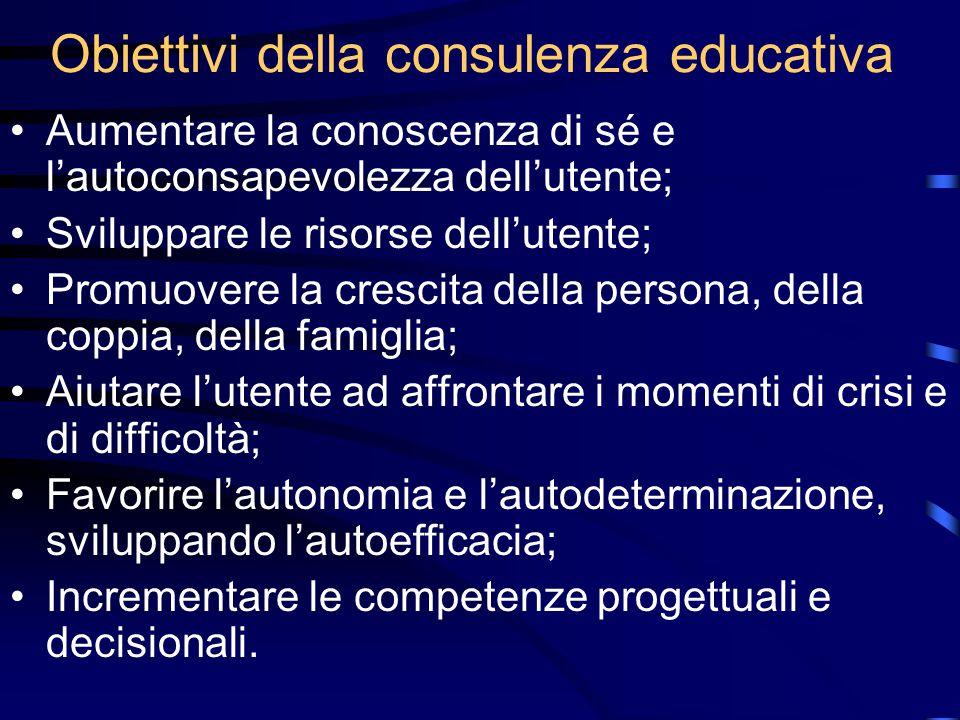 Obiettivi della consulenza educativa