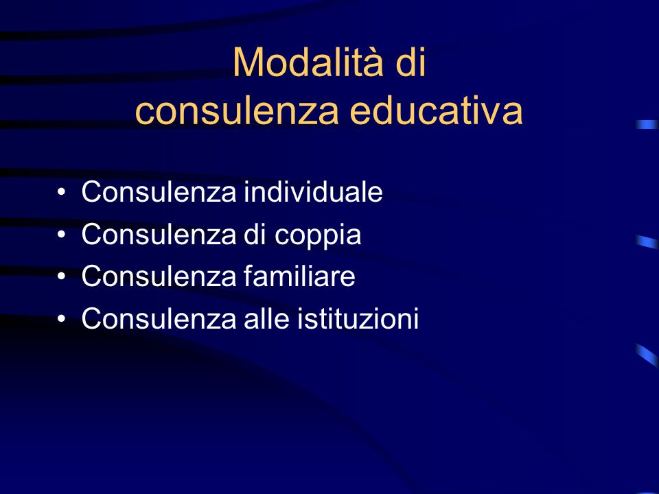 Modalità di consulenza educativa