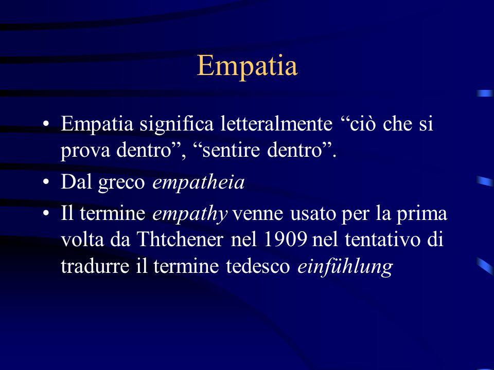Empatia Empatia significa letteralmente ciò che si prova dentro , sentire dentro . Dal greco empatheia.