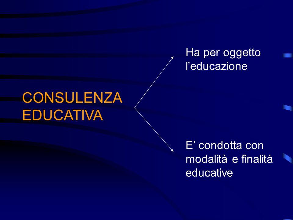 CONSULENZA EDUCATIVA Ha per oggetto l'educazione E' condotta con