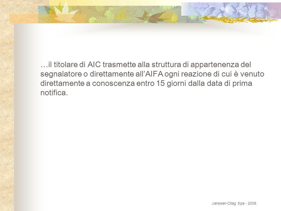 …il titolare di AIC trasmette alla struttura di appartenenza del segnalatore o direttamente all'AIFA ogni reazione di cui è venuto direttamente a conoscenza entro 15 giorni dalla data di prima notifica.