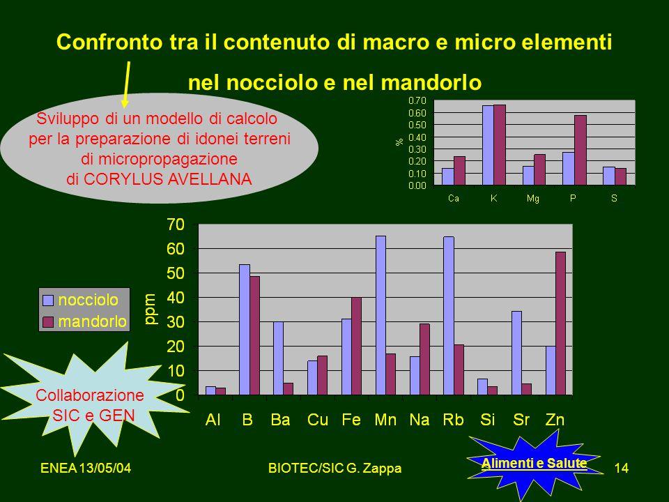 Confronto tra il contenuto di macro e micro elementi