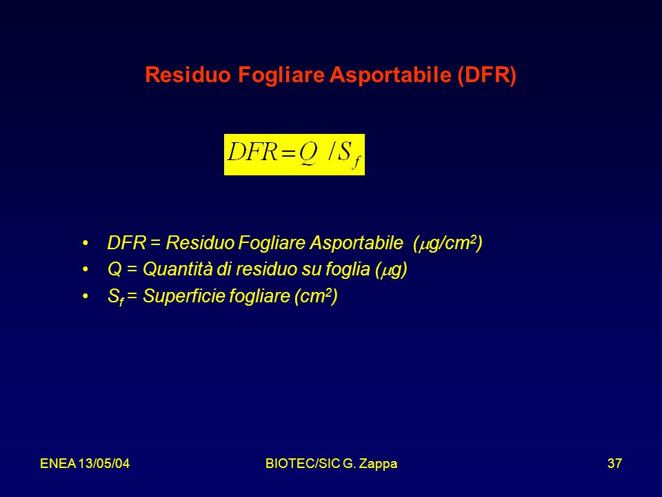 Residuo Fogliare Asportabile (DFR)