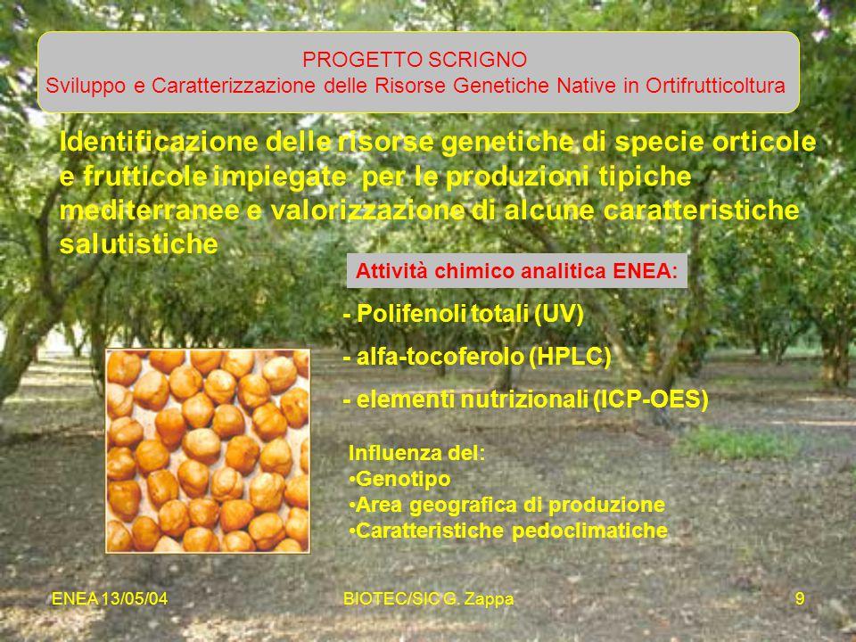 PROGETTO SCRIGNO Sviluppo e Caratterizzazione delle Risorse Genetiche Native in Ortifrutticoltura.