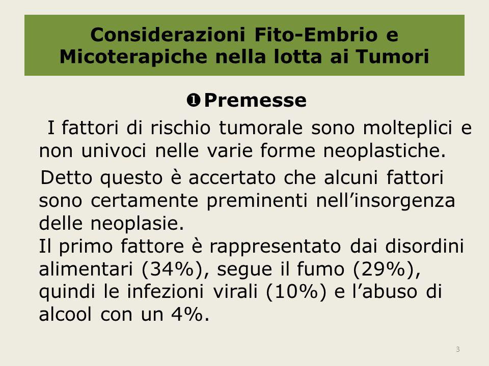 Considerazioni Fito-Embrio e Micoterapiche nella lotta ai Tumori