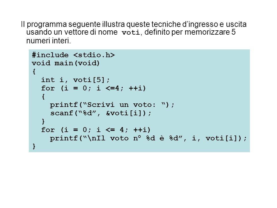 Il programma seguente illustra queste tecniche d'ingresso e uscita usando un vettore di nome voti, definito per memorizzare 5 numeri interi.