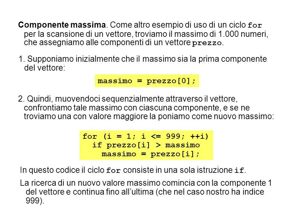 Componente massima. Come altro esempio di uso di un ciclo for per la scansione di un vettore, troviamo il massimo di 1.000 numeri, che assegniamo alle componenti di un vettore prezzo.