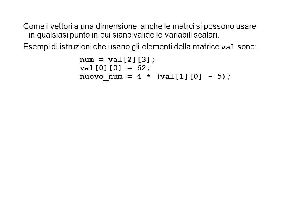 Come i vettori a una dimensione, anche le matrci si possono usare in qualsiasi punto in cui siano valide le variabili scalari.