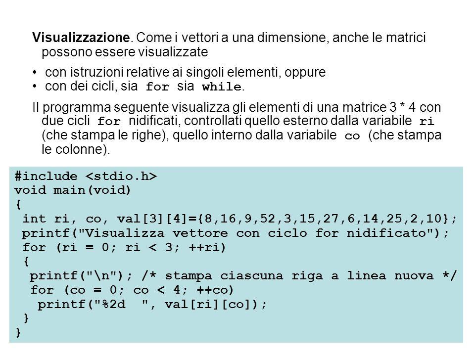 Visualizzazione. Come i vettori a una dimensione, anche le matrici possono essere visualizzate