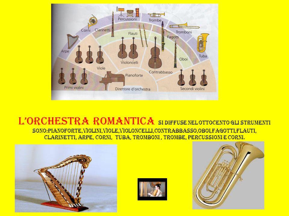 L'orchestra romantica si diffuse nel ottocento gli strumenti sono:pianoforte,violini,viole,violoncelli,contrabbasso,oboi,fagotti,flauti, clarinetti, arpe, corni, tuba, tromboni , trombe, percussioni e corni.