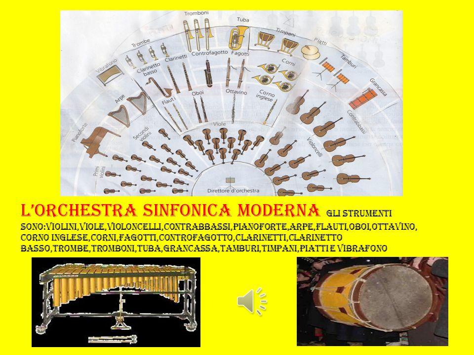 L'ORCHESTRA SINFONICA MODERNA GLI STRUMENTI SONO:VIOLINI,VIOLE,VIOLONCELLI,CONTRABBASSI,PIANOFORTE,ARPE,FLAUTI,OBOI,OTTAVINO,