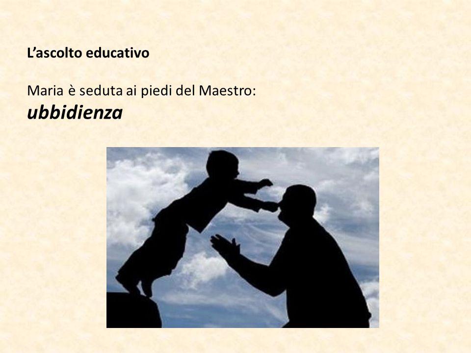 L'ascolto educativo Maria è seduta ai piedi del Maestro: ubbidienza