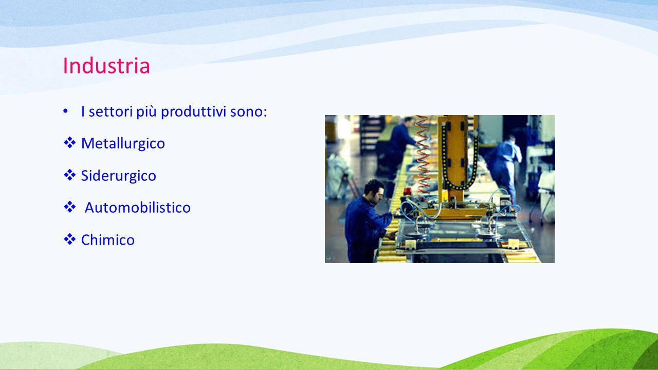Industria I settori più produttivi sono: Metallurgico Siderurgico