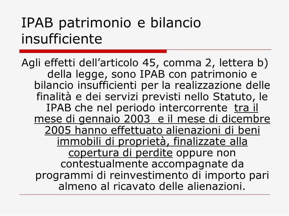 IPAB patrimonio e bilancio insufficiente