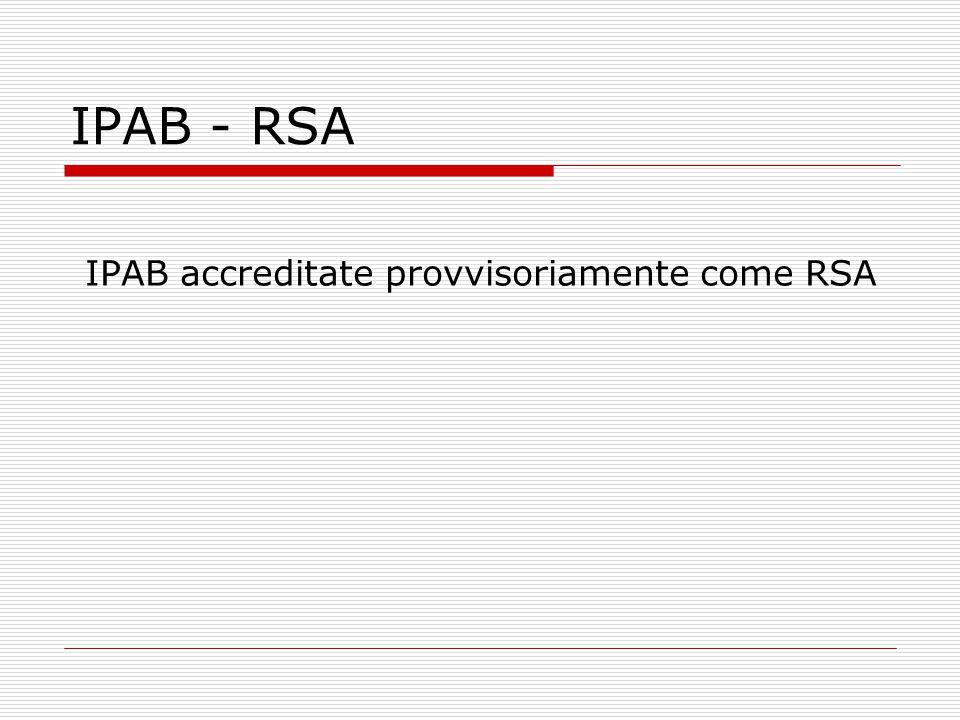 IPAB accreditate provvisoriamente come RSA