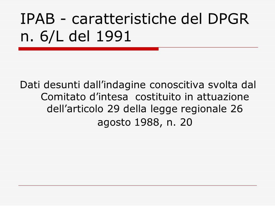 IPAB - caratteristiche del DPGR n. 6/L del 1991
