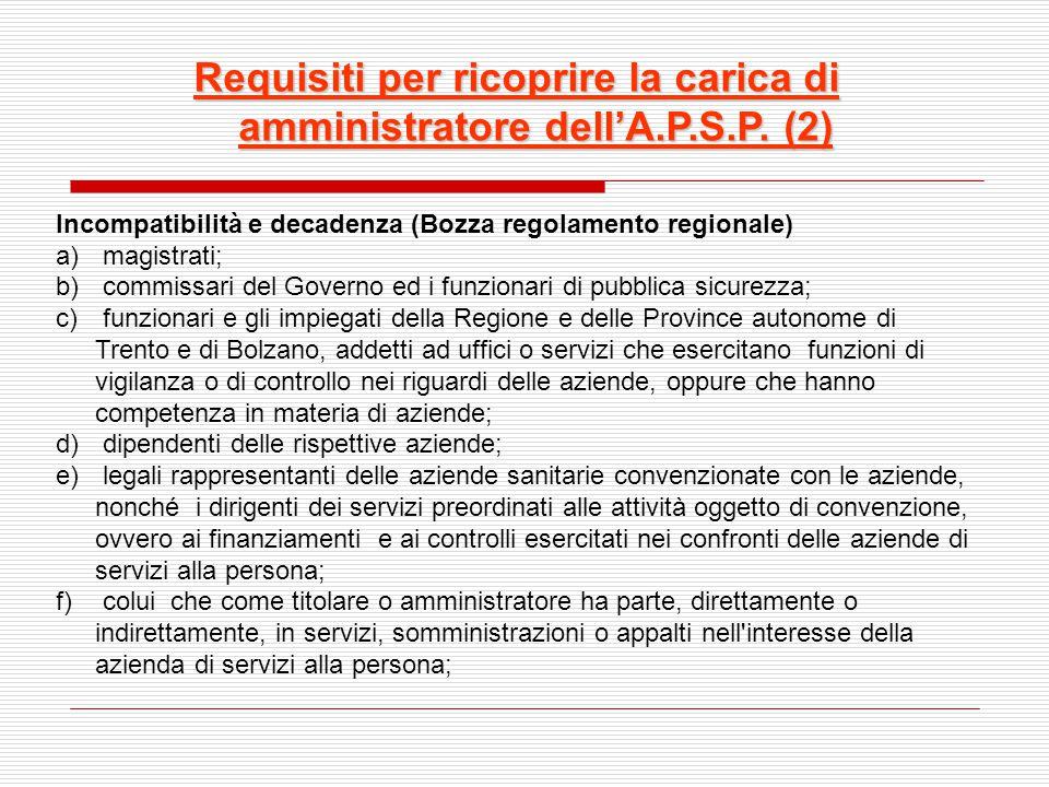 Requisiti per ricoprire la carica di amministratore dell'A.P.S.P. (2)