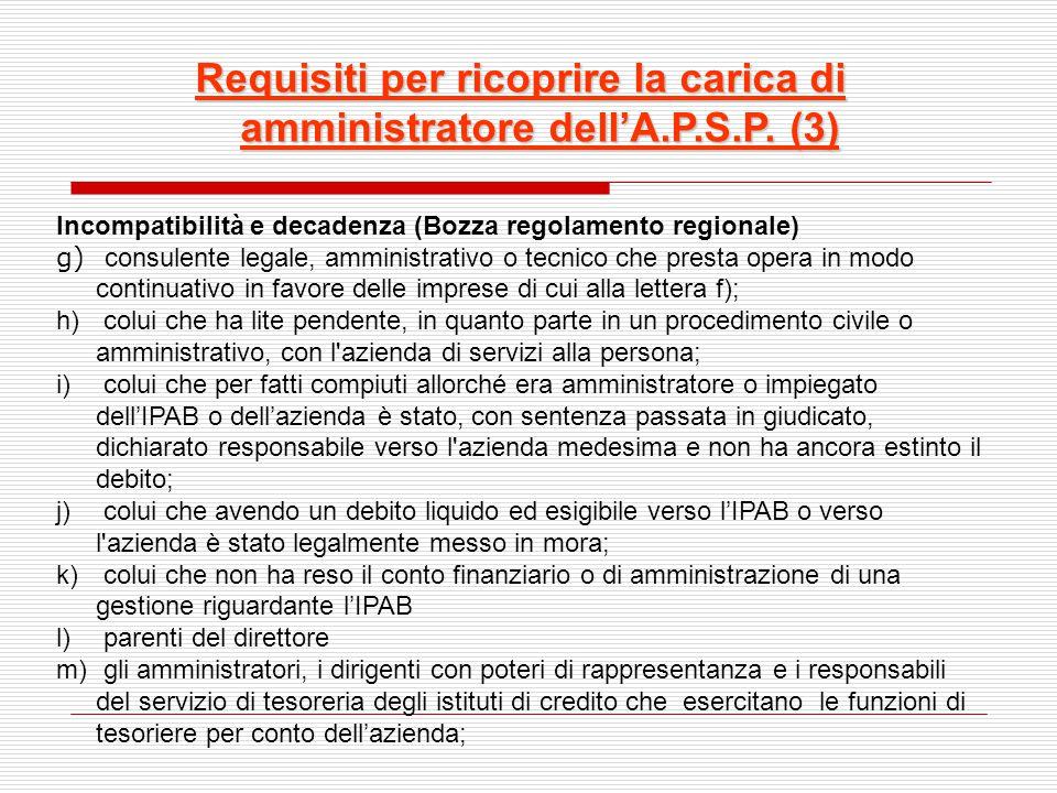 Requisiti per ricoprire la carica di amministratore dell'A.P.S.P. (3)