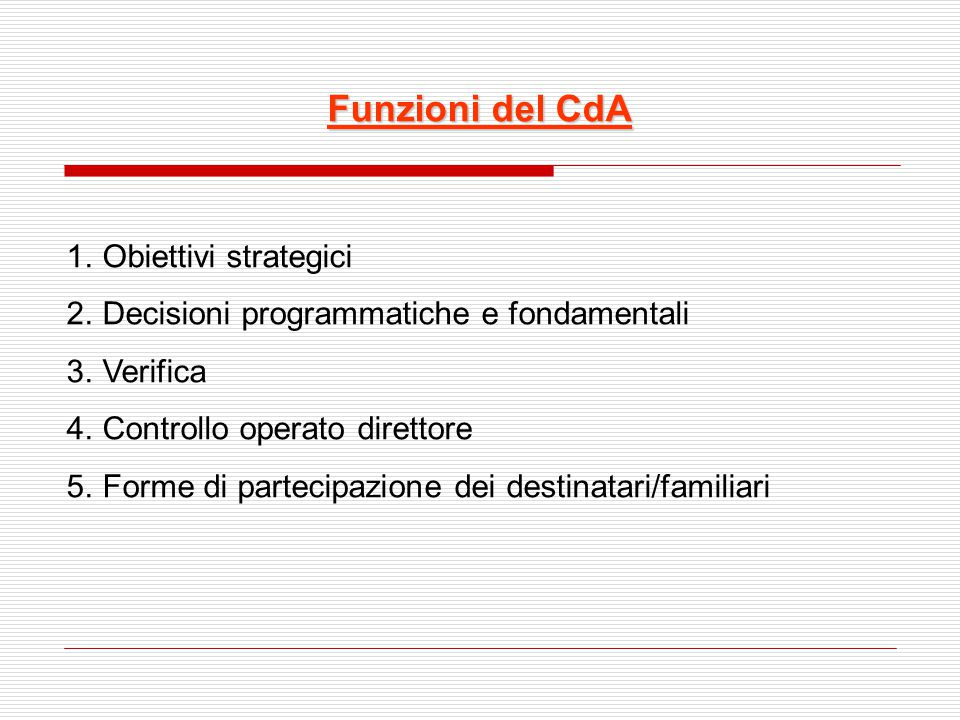 Funzioni del CdA Obiettivi strategici