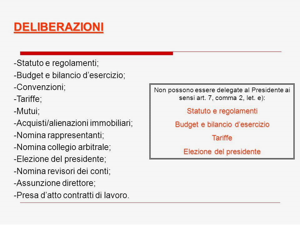 DELIBERAZIONI Statuto e regolamenti; Budget e bilancio d'esercizio;