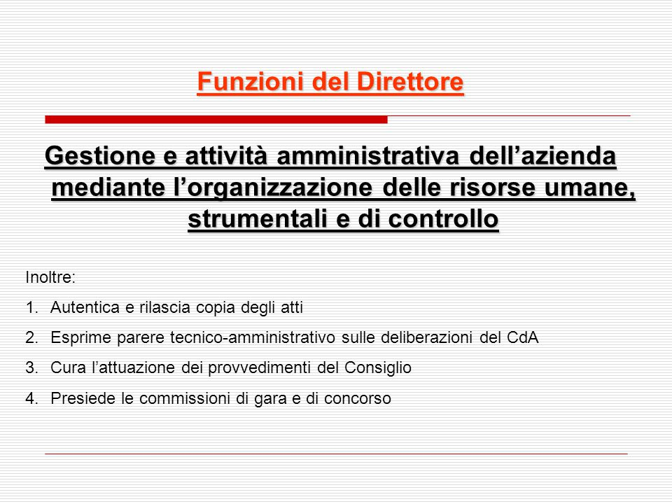 Funzioni del Direttore
