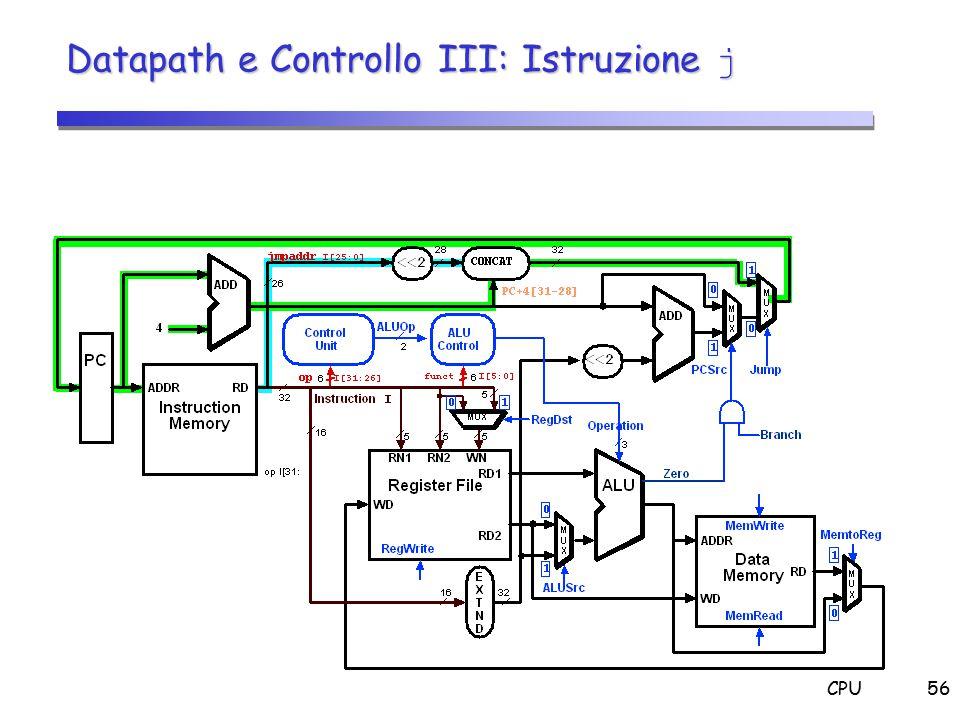 Datapath e Controllo III: Istruzione j
