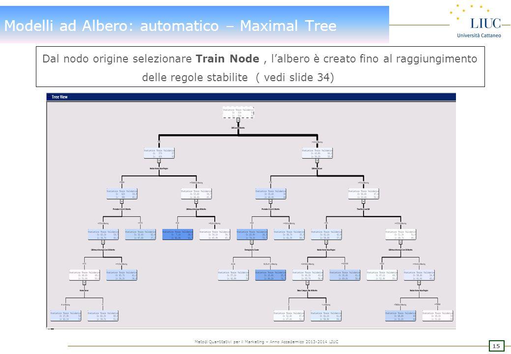 Modelli ad Albero: Maximal Tree – valutazione