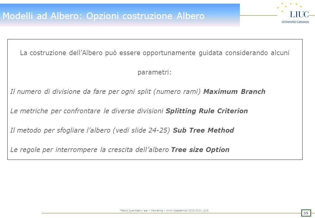 Modelli ad Albero: Opzioni costruzione Albero